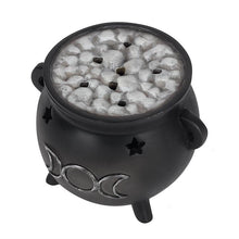 Load image into Gallery viewer, Triple Moon Cauldron Incense Cone Holder - Happy Emo