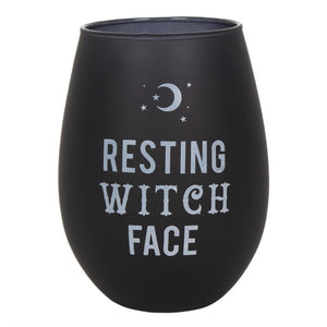 Resting Witch Face Stemless Wine Glass - Happy Emo