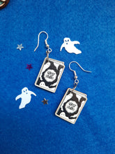 Load image into Gallery viewer, Cute Ghost Stories Silver Plated Wooden Earrings - Happy Emo