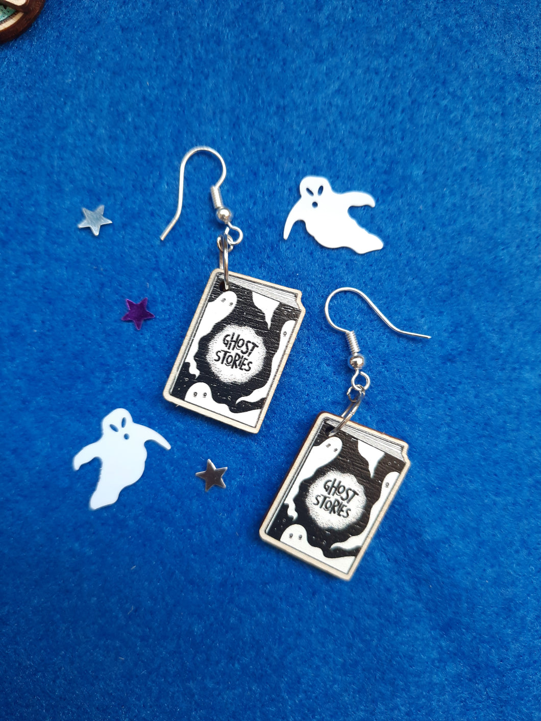 Cute Ghost Stories Silver Plated Wooden Earrings - Happy Emo