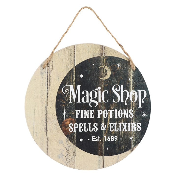 Magic Shop Round Hanging MDF Sign