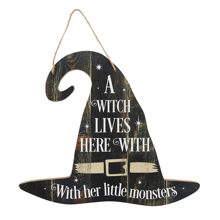 A Witch Lives Here Hanging MDF Sign