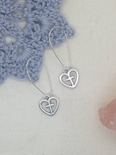 Load image into Gallery viewer, Silver Heart and Cross Kidney Hoop Earrings - Happy Emo