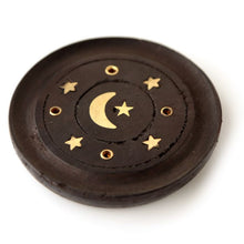 Load image into Gallery viewer, Mango Wood Moon and Stars Round Black Ashcatcher Incense Burner - Happy Emo