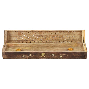 Mango Wood Incense Box with Brass Pentagram Inlay