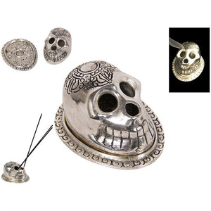 Silver Skull Incense Holder - Happy Emo