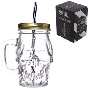 Glass Skull Drinking Jar with Metal Lid and Stripy Straw