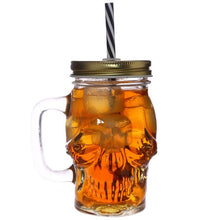 Load image into Gallery viewer, Glass Skull Drinking Jar with Metal Lid and Stripy Straw