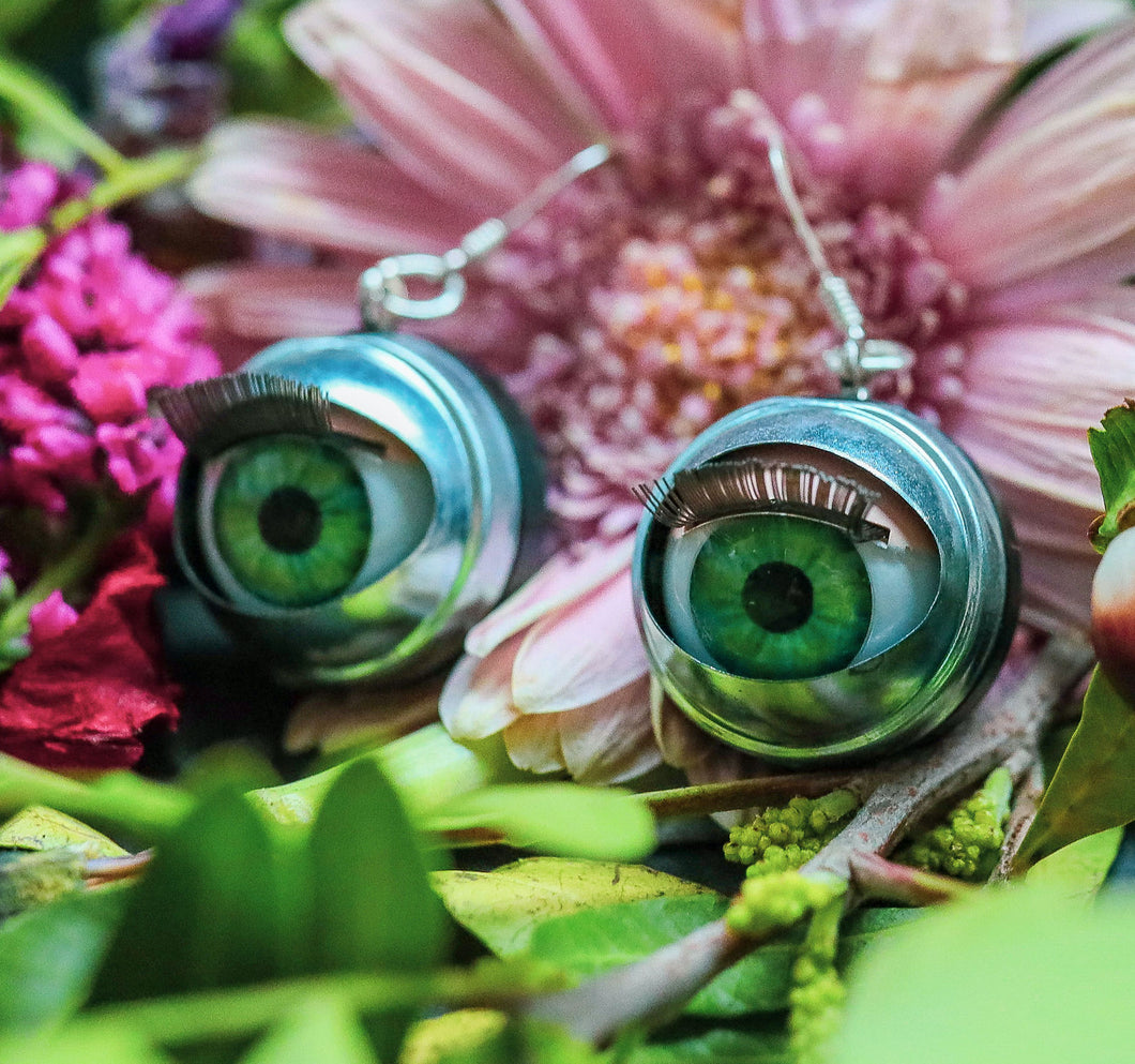 Large Green Eye Earrings