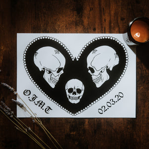 Personalised Family of Skulls A4 Print - Happy Emo