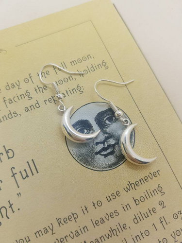 Chunky Silver Moon Earrings - Happy Emo