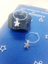 Load image into Gallery viewer, Star Charm Silver Hoop Earrings - Happy Emo