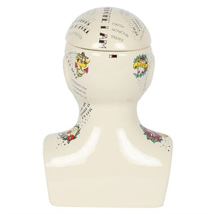 30cm Phrenology Head Storage Jar - Happy Emo