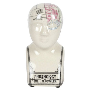 Small Crackle Phrenology Head Ornament - Happy Emo