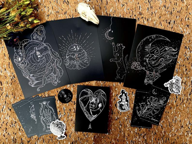 "Print set - ""Witches Pet"" - Happy Emo"