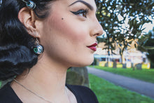Load image into Gallery viewer, Large Green Eye Earrings