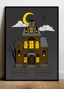 Haunted House Art Print (A4) - Happy Emo