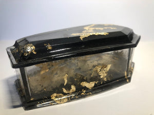 Casket Coffin Resin Jewellery / Trinket Box with Lid - Happy Emo