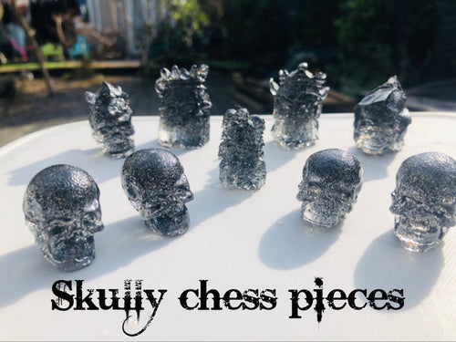 Skull Chess Pieces - Happy Emo