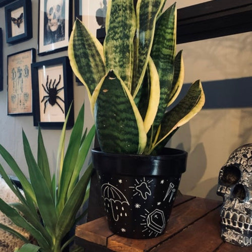 Black Tattoo Flash Plant Pot - Happy Emo
