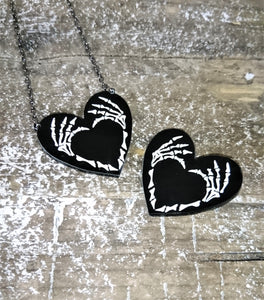 Skeleton Hands Heart Eco-Friendly Bamboo or Acrylic Necklace - Happy Emo