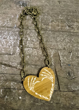 Load image into Gallery viewer, Skeleton Hands Heart Eco-Friendly Bamboo or Acrylic Necklace - Happy Emo