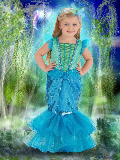 Enchanted Sea Princess Dress - Turquoise/Lime