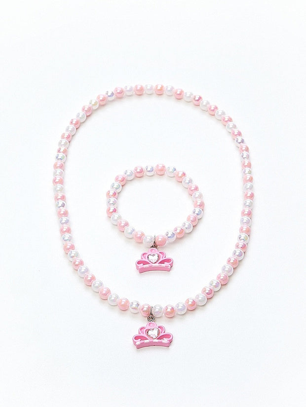 Tiara Necklace and Bracelet Set Pink