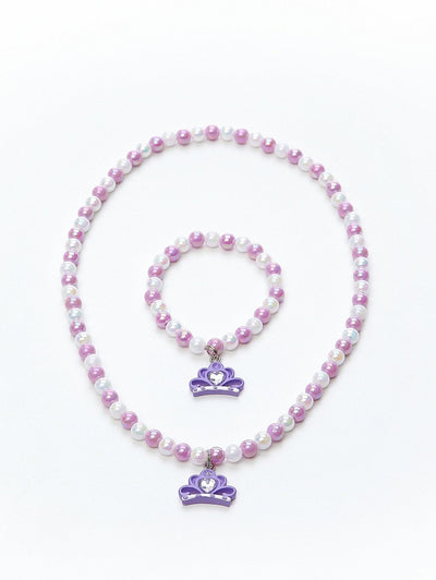 Tiara Necklace and Bracelet Set Purple