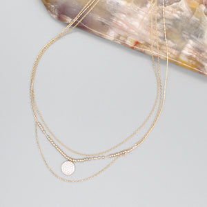 TRIPLE LAYERED ROUND PENDANT NECKLACE