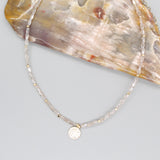 HAMMERED ROUND METAL PENDANT BEADED CHOKER NECKLACE