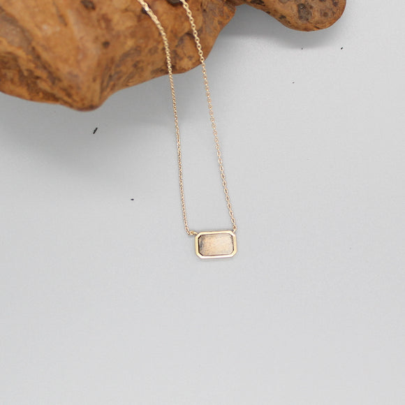 BRASS NATURAL STONE PENDANT NECKLACE