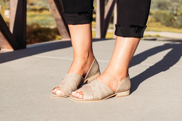 Braided Slip on Sandals-Taupe