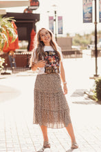 Load image into Gallery viewer, Leopard Print Tiered Midi Skirt
