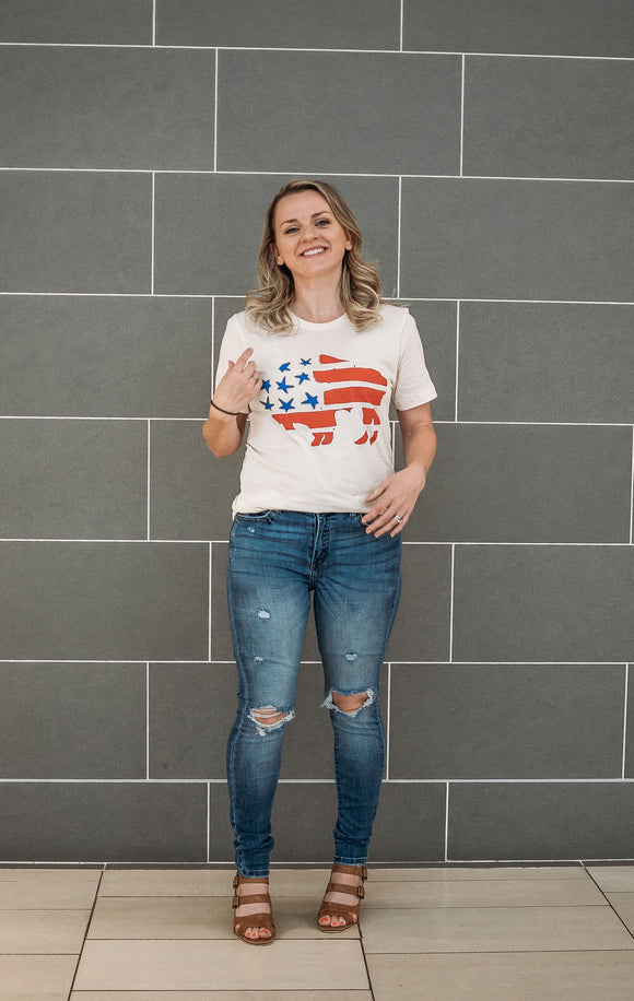 Patriotic Buffalo Graphic Tee