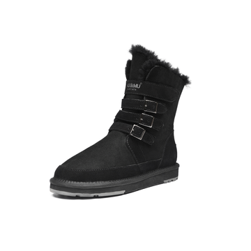 AU&MU Women's Classic Twin-face Sheepskin Snow Boots