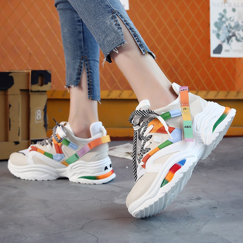 Street Booster 1.0 Women's Platform Sneakers - White Rainbow