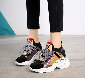 Neo-Trainers Animalistic Platform Women's Shoes - Black-Yellow
