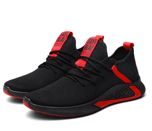 X-Walker 1.0 Breathable Running Men's Shoes - Black-Red