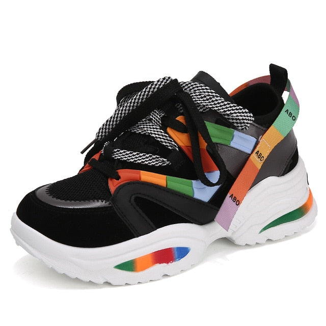 Street Booster 1.0 Women's Platform Sneakers - Black Rainbow