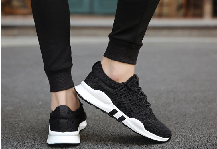 EasyStep Line Breathable Running Shoes for Him&Her - Black-White