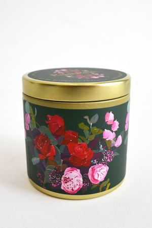 Red Rose Tin Candle