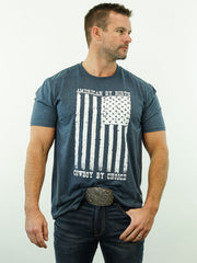 American By Birth, Cowboy By Choice - T-Shirt, Blue Heather