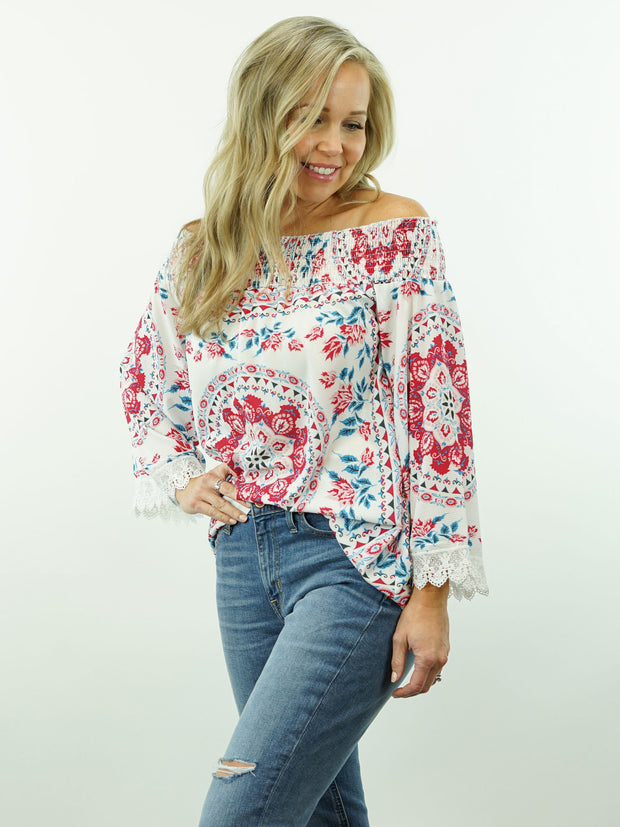 Bella Rose - Floral Print, Off Shoulder/On Shoulder, Lace Sleeve Top