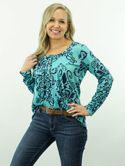 Charlie - Turquoise, Print Top