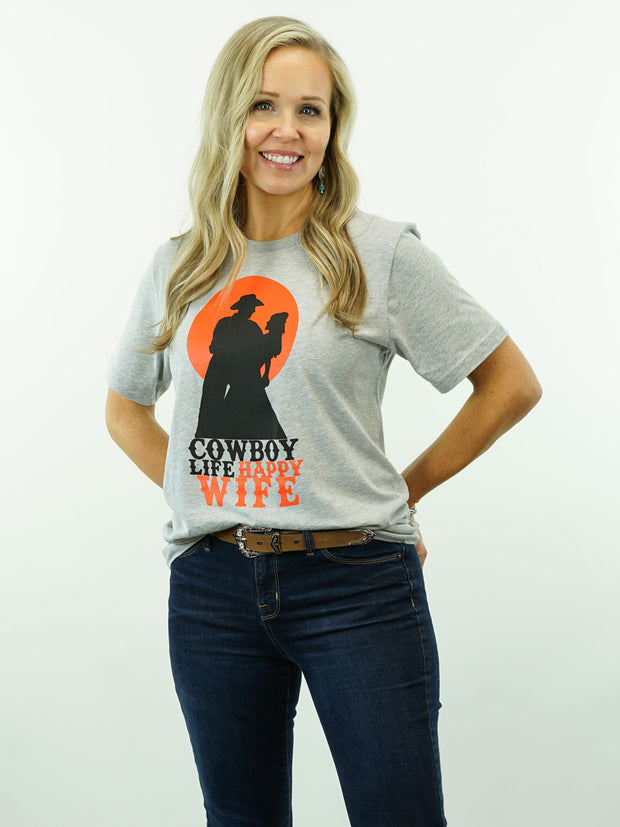 Cowboy Life Happy Wife - Standard Cut, T-Shirt Grey