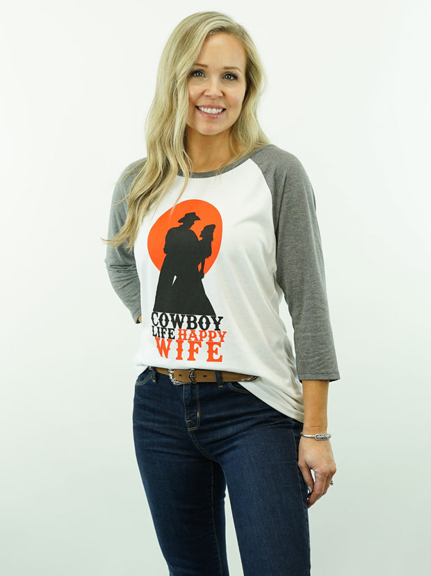 Cowboy Life Happy Wife - Two Color, 3/4 Sleeve, Women's Cut, T-Shirt