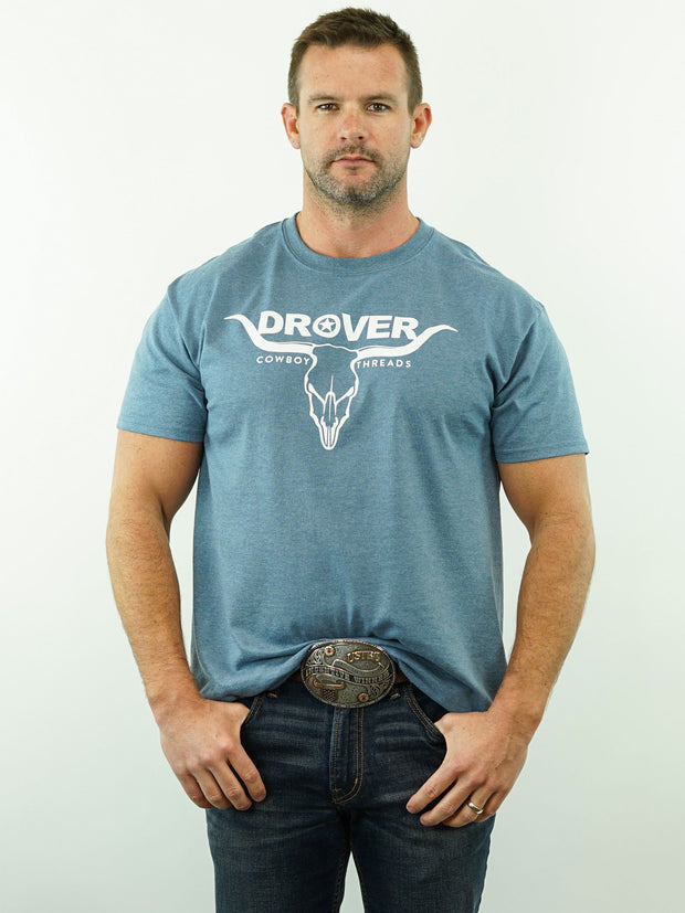 Drover Bull Skull - T-Shirt, Blue Heather