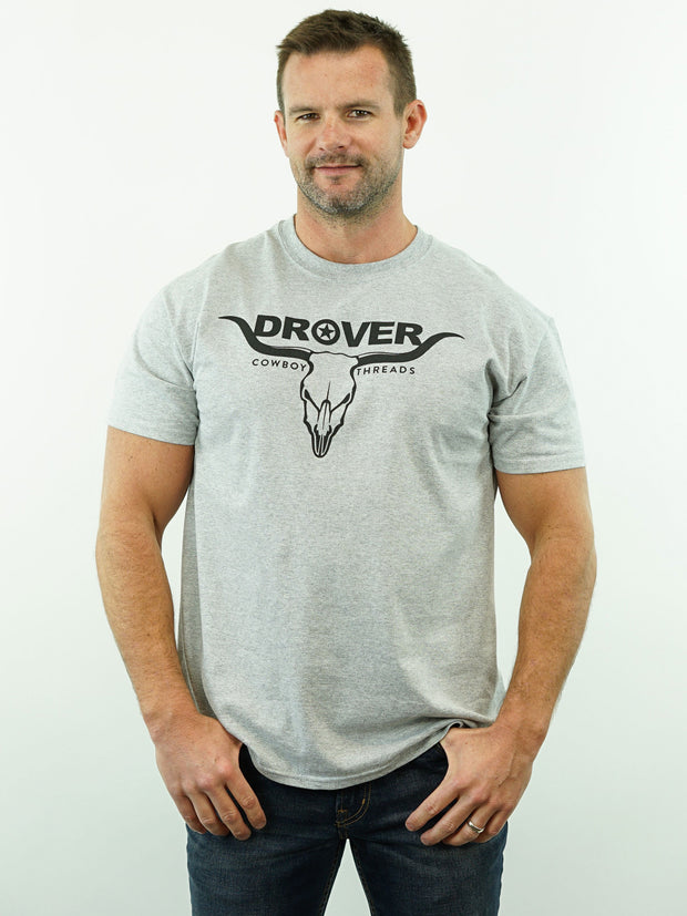 Drover Bull Skull - T-Shirt, Grey Heather