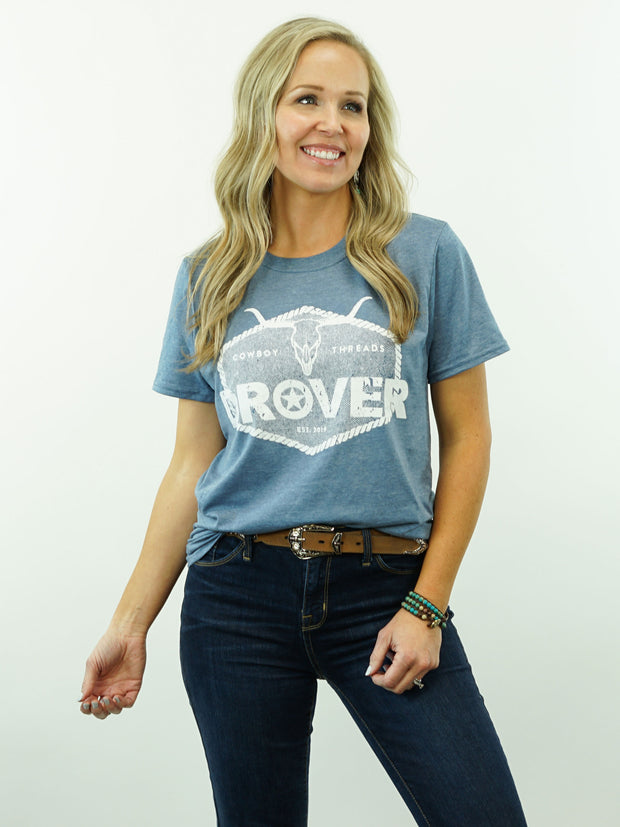 Drover Rope Badge - T-Shirt, Blue Heather